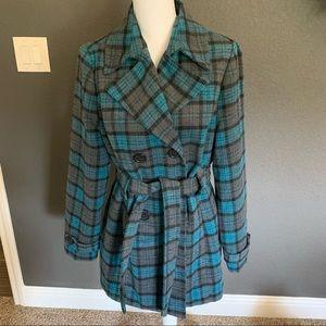Jou Jou plaid double breasted coat size XL